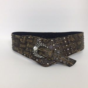 Accessories - Distress Bejeweled Faux Leather Belt Large